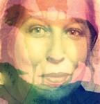 Marias Porträt mit Farbe und Schafen